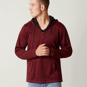 Landlock Hoodie HURLEY 1/4 zip pullover red SZ L